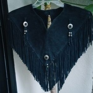 Vintage Real Suede with hanging beads VEST! YES!💯